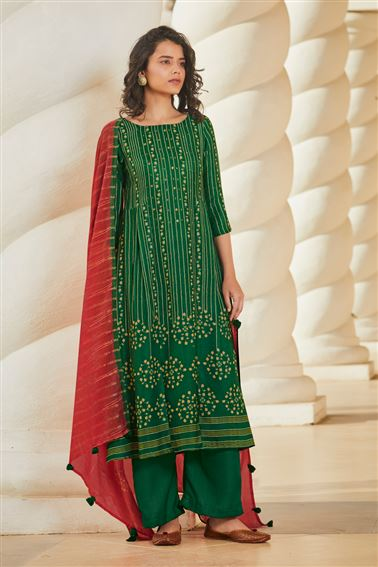 Appealing Green Colored Pashmina Fabric Printed Salwar Suit