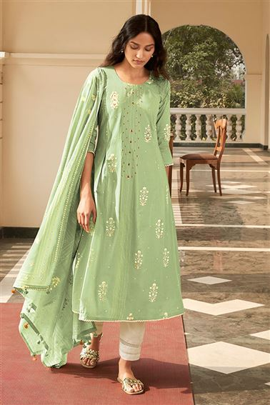 Attractive Sea Green Color Cotton Fabric Festive Wear Printed Salwar Kameez