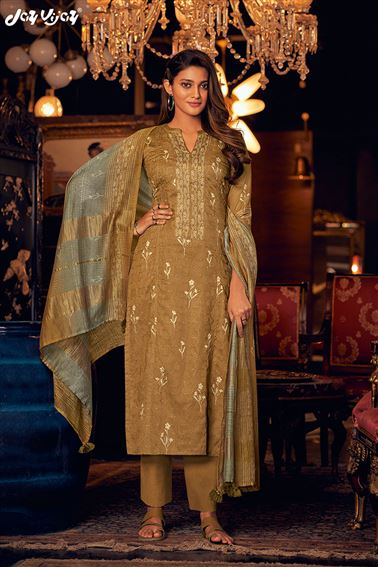 Captivating Brown Color Satin Fabric Hand Work Function Wear Designer Salwar Suit