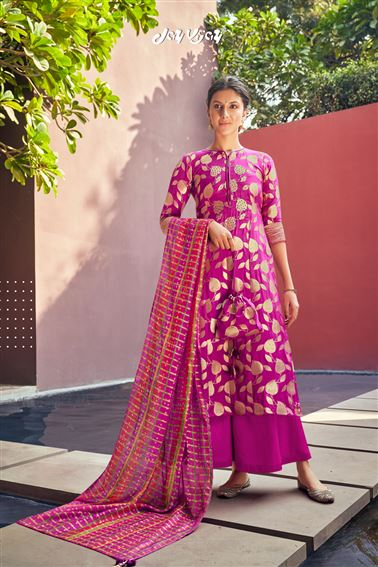 Captivating Magenta Colored Banarasi Jacquard Fabric Hand Work Palazzo Salwar Suit