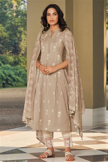 Engaging Chikoo Color Cotton Fabric Fancy Printed Function Wear Salwar Suit