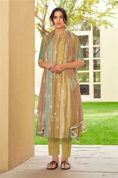 Engaging Multi Color Pure Cotton Fabric Digital Print Function Wear Designer Salwar Suit