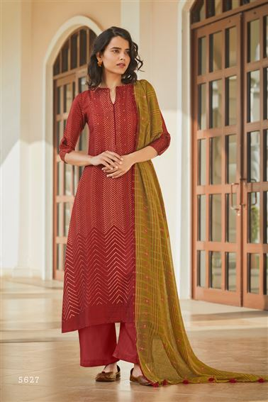 Engaging Red Colored Pashmina Fabric Printed Salwar Suit