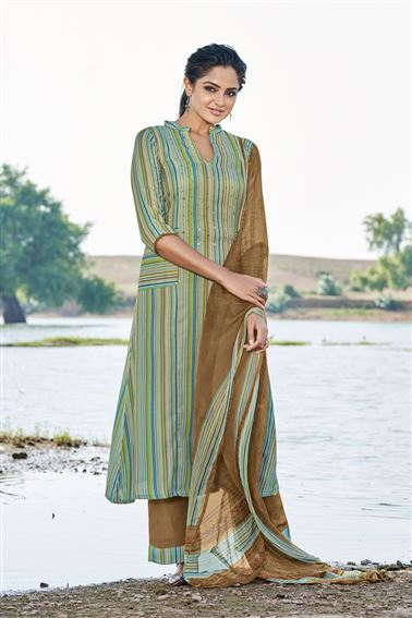 Enriching Sea Green Colored Pashmina Fabric Printed Salwar Kameez