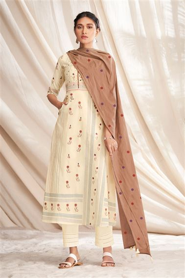 Lovely Beige Colored Pure Cotton Fabric Party Wear Printed Designer Salwar Kameez