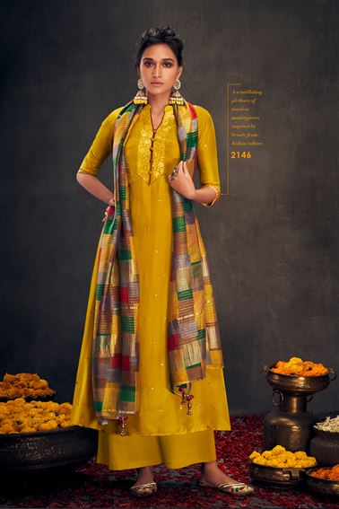 Lovely Mustard Colored Bemberg Silk Fabric Hand Work Palazzo Suit