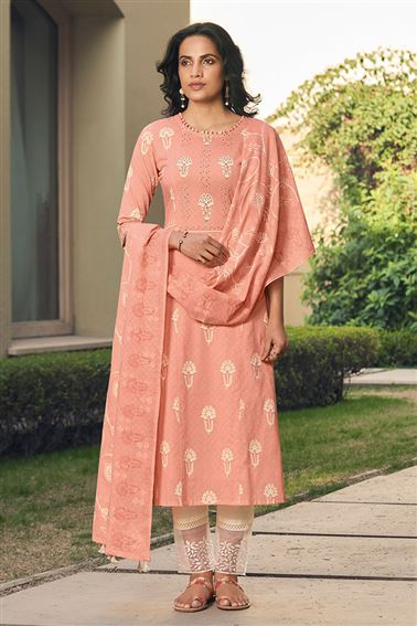 Lovely Peach Color Cotton Fabric Fancy Printed Function Wear Salwar Suit