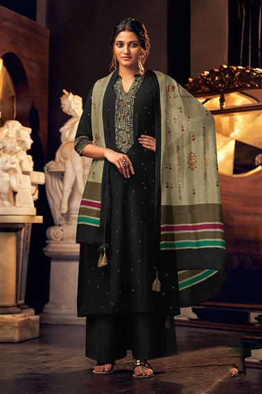 Magnificent Black Color Bemberg Silk Fabric Hand Work Palazzo Suit