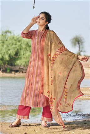 image of Alluring Pink Colored Pashmina Fabric Printed Salwar Kameez