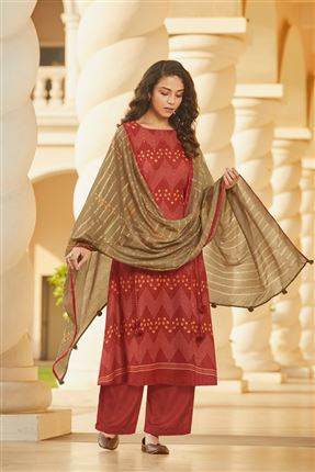 image of Alluring Red Colored Pashmina Fabric Printed Salwar Suit
