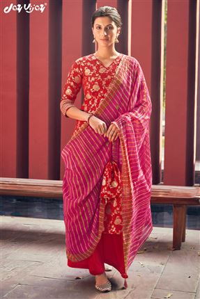 image of Appealing Red Colored Banarasi Jacquard Fabric Hand Work Palazzo Salwar Suit