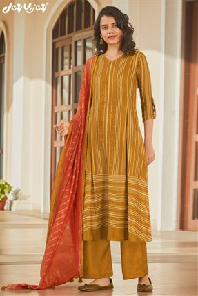 image of Artistic Mustard Colored Pashmina Fabric Printed Salwar Suit