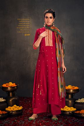 image of Beautiful Dark Pink Colored Bemberg Silk Fabric Hand Work Palazzo Suit