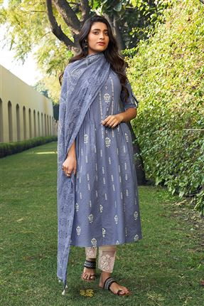 image of Captivating Blue Color Cotton Fabric Fancy Printed Function Wear Salwar Suit