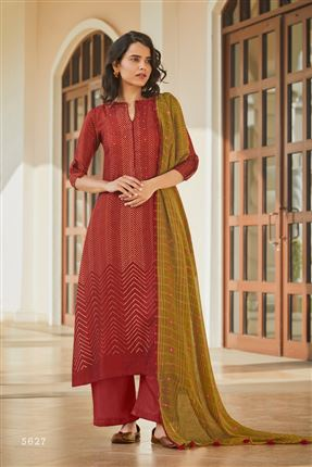 image of Engaging Red Colored Pashmina Fabric Printed Salwar Suit
