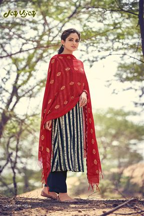 image of Enriching Navy Blue And Beige Colored Pashmina Fabric Printed Salwar Kameez