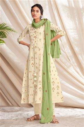image of Fascinate Beige Colored Pure Cotton Fabric Party Wear Printed Designer Salwar Kameez