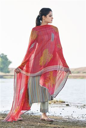 image of Fascinate Grey Colored Pashmina Fabric Printed Salwar Kameez