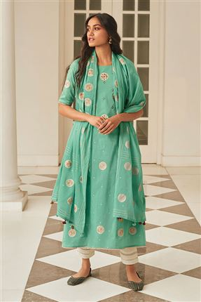 image of Fascinate Turquoise Color Cotton Fabric Festive Wear Printed Salwar Kameez