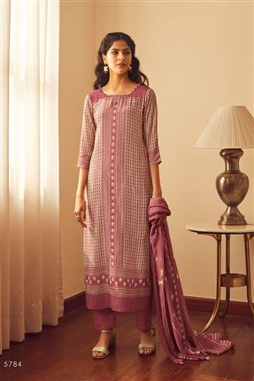image of Fetching Pink Color Bemberg Silk Fabric Printed Salwar Suit