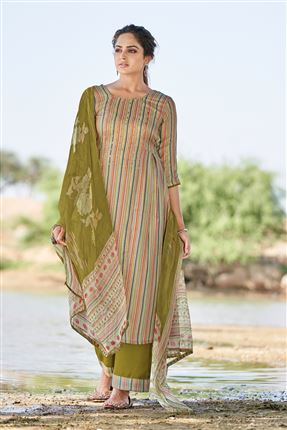 image of Glamorous Beige Colored Pashmina Fabric Printed Salwar Kameez