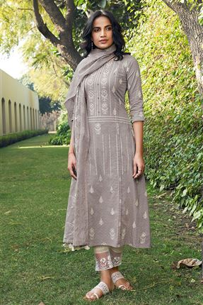 image of Gorgeous Dark Beige Color Cotton Fabric Fancy Printed Function Wear Salwar Suit