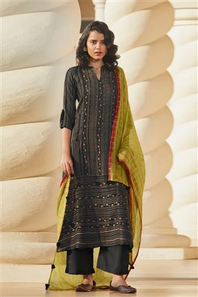 image of Graceful Black Colored Pashmina Fabric Printed Salwar Suit