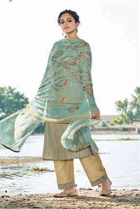image of Graceful Cyan Colored Pashmina Fabric Printed Salwar Kameez