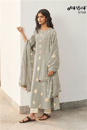 image of Magnificent Grey Color Cotton Fabric Festive Wear Printed Salwar Kameez