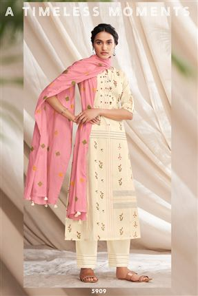image of Majestic Beige Colored Pure Cotton Fabric Party Wear Printed Designer Salwar Kameez