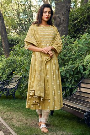 image of Pretty Khaki Color Cotton Fabric Fancy Printed Function Wear Salwar Suit