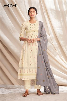 image of Splendiferous Beige Colored Pure Cotton Fabric Party Wear Printed Designer Salwar Kameez