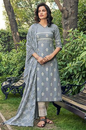 image of Striking Grey Color Cotton Fabric Fancy Printed Function Wear Salwar Suit