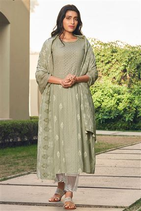 image of Stunning Light Green Color Cotton Fabric Fancy Printed Function Wear Salwar Suit