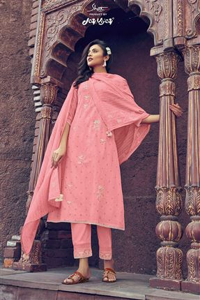 image of Alluring Pink Colored Kota Fabric Festive Wear Printed Designer Dress