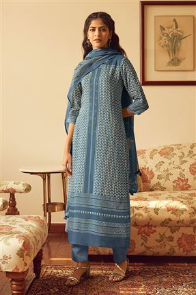 image of Appealing Blue Color Bemberg Silk Fabric Printed Salwar Suit