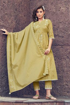 image of Artistic Khaki Colored Kota Fabric Festive Wear Printed Designer Dress