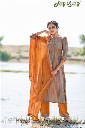 image of Attractive Chikoo Colored Pashmina Fabric Printed Salwar Kameez