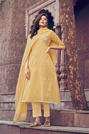 image of Attractive Yellow Colored Kota Fabric Festive Wear Printed Designer Dress