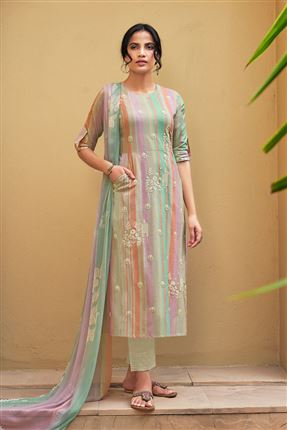 image of Captivating Multi Color Pure Cotton Fabric Digital Print Function Wear Designer Salwar Suit