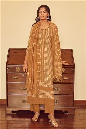 image of Captivating Rust Color Bemberg Silk Fabric Printed Salwar Suit