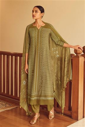 image of Engaging Brown Color Bemberg Silk Fabric Printed Salwar Suit