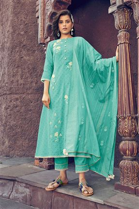 image of Enriching Cyan Colored Kota Fabric Festive Wear Printed Designer Dress