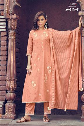 image of Fascinate Peach Colored Kota Fabric Festive Wear Printed Designer Dress