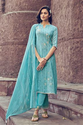image of Glamorous Cyan Colored Kota Fabric Festive Wear Printed Designer Dress