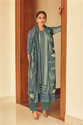 image of Gorgeous Grey Color Bemberg Silk Fabric Printed Salwar Suit