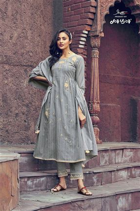 image of Graceful Grey Colored Kota Fabric Festive Wear Printed Designer Dress