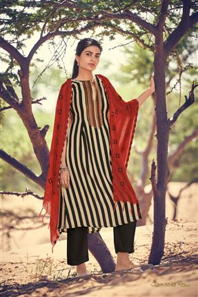 image of Lovely Black And Beige Colored Pashmina Fabric Printed Salwar Kameez