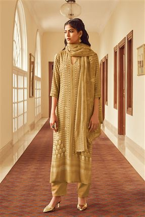 image of Lovely Coffee Color Bemberg Silk Fabric Printed Salwar Suit