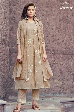 image of Magnificent Cream Colored Kota Fabric Festive Wear Printed Designer Dress